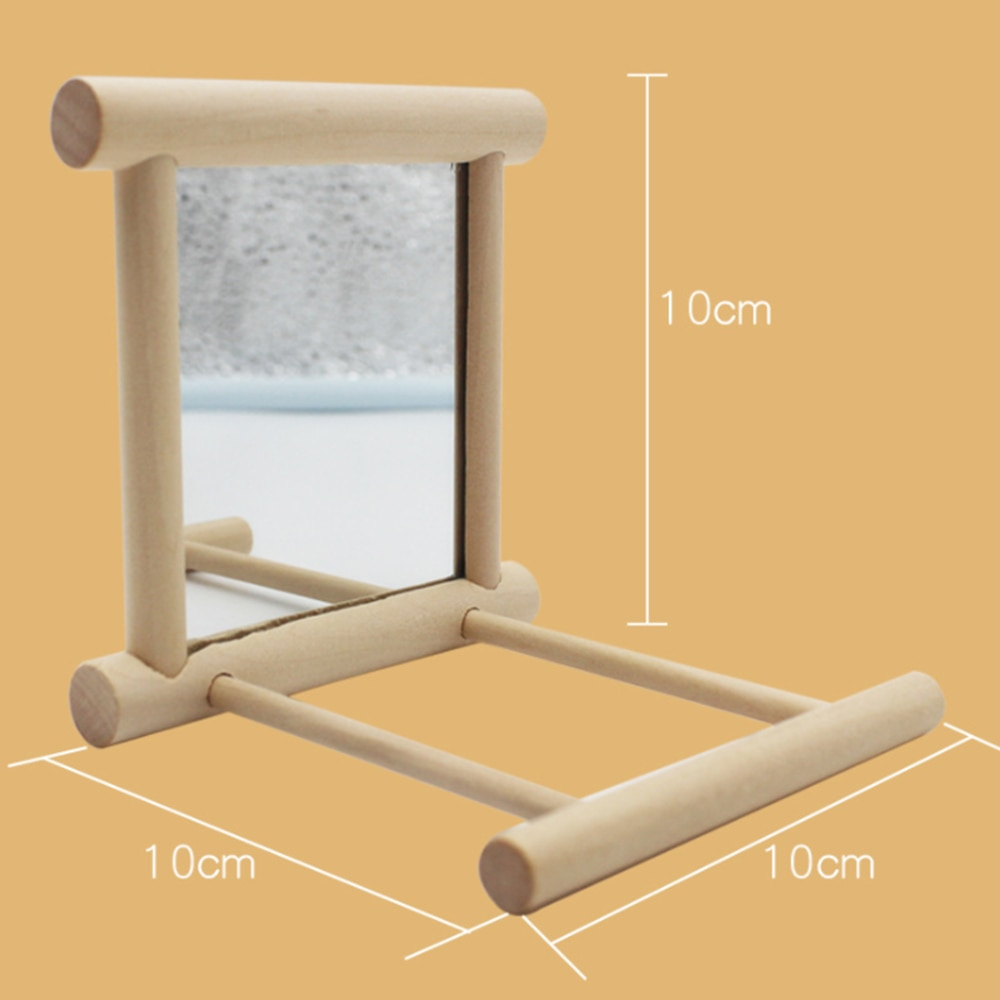 Wooden Pet Toy Mirror for Brids